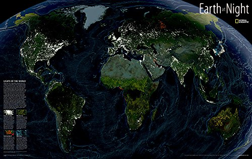 Earth at Night [Tubed] (National Geographic Reference Map) (World Map Night compare prices)