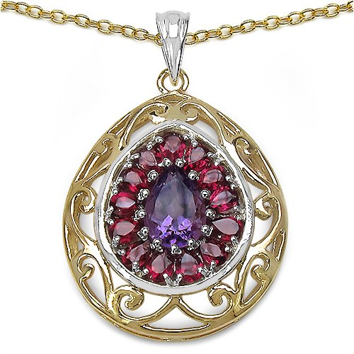3.95CTW Genuine Amethyst & Rhodolite Two Tone Plated .925 Sterling Silver Pendant (multicolor)