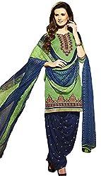 Leranath Fashion House Womens Pure Chanderi Material Green, Blue Dress (LE1-267SUN-2)