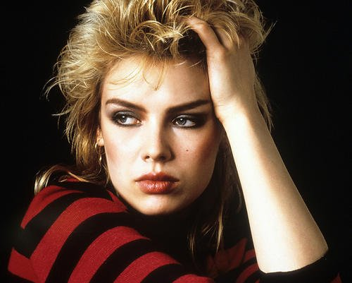 Kim Wilde in the 80s with black and red striped Top Photo