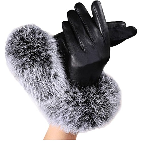 PS Fashion Women's Winter Warmly Fur Leather or Knit Oven Mitts Gloves Hottest