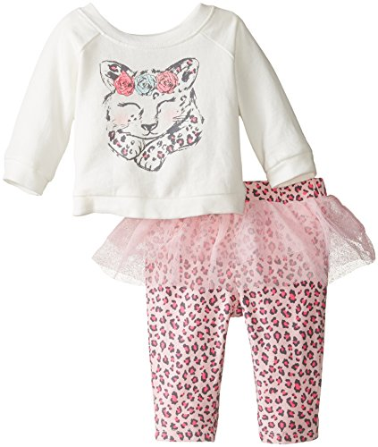 The Children's Place Baby-Girls Infant Long Sleeve Cat Skegging Set, Pink Blossom, 3-6 Months