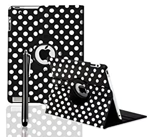 STYLEYOURMOBILE {TM} APPLE IPAD MINI PU LEATHER MAGNETIC FLIP CASE COVER + SCREEN PROTECTOR + STYLUS (Polka Dot Black)