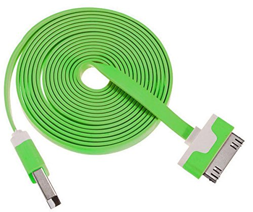 """Mylife Classic Green + Skeleton White {Flat Tangle-Free Noodle Design} 6' Feet (1.8 Meter) Quick Charge Cable And Usb Data Sync Cord For Iphone, Ipod And Ipad Models """"See Compatibility"""" (Durable Rubber Coat)"""