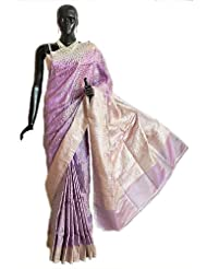 Mauve Pashmina Silk Saree with All-Over Design from Banaras with Brocade Border and Pallu - Silk