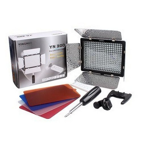 Yongnuo Professional Adjust Illumination Dimming Led Video Light Flash Yn300 With 300Pcs Lamps 4 Color Sheets For Canon Nikon Olympus Pentax Samsung