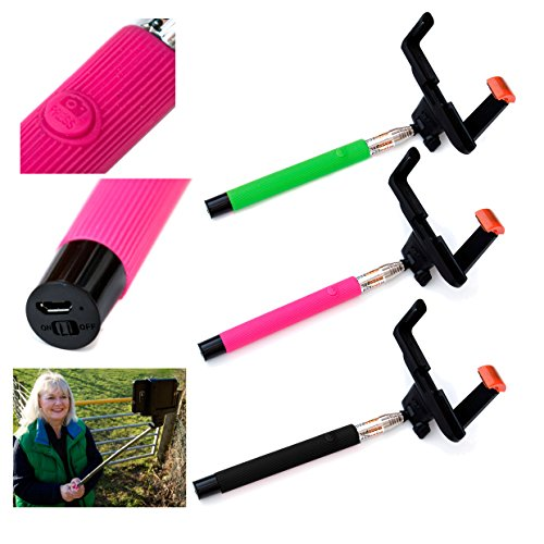 5star Selfie® Stick Black, Bluetooth Wireless Adjustable Telescopic Extendable Monopod, Compatible with Apple, Android Phones & Compact Cameras