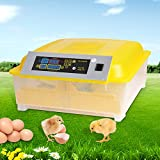 Homdox Automatic 48 Digital Clear Egg Incubator Hatcher Egg Turning Temperature Control 80W US Plug Yellow (48 egg incubator)