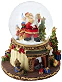 Kurt Adler Battery Operated Musical Light-Up Snowing Santa Water Ball, 120mm
