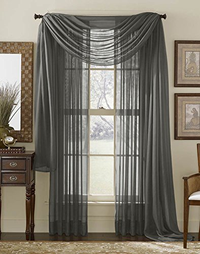 "95"" Long Sheer Curtain Panel - Charcoal (Grey) Home Garden Lawn Garden ..."