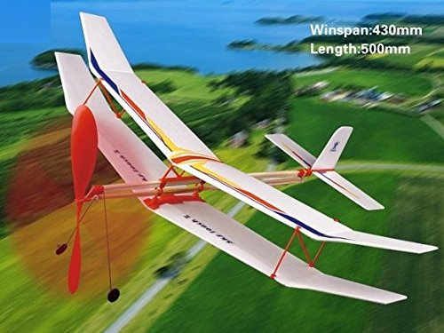 Sky Touch II Rubber Band Elastic Powered Glider Plane Kit Flying Model Toy