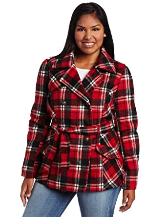 Southpole Juniors Plus-Size Belted Plaid Trench Coat, Red, 1X