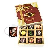 Chocholik Belgium Chocolates - 9pc Heavenly Treat Of Truffles With Diwali Special Coffee Mug - Diwali Gifts