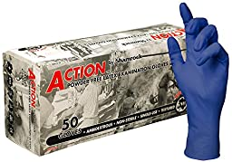 Shamrock 16014-XL-cs Action Safety Medical Grade Examination Glove, 15 mil, Powder-Free, Textured, Natural Rubber Latex, 12\