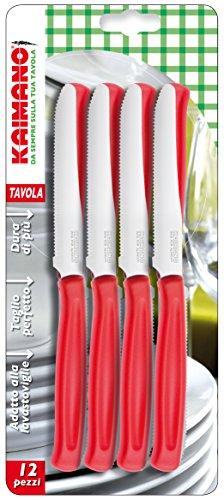 Kaimano KDN041512R Dinamik 12 Coltelli da Tavola con Lama Dentata, Rosso