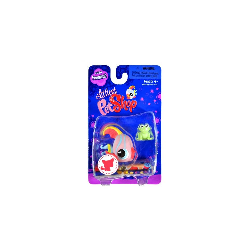 """Hasbro Year 2008 Littlest Pet Shop Single Pack """"Funniest"""" Series Bobble Head Pet Figure Set #884   ANGEL FISH with Green Mini Frog (#92621) Toys & Games"""