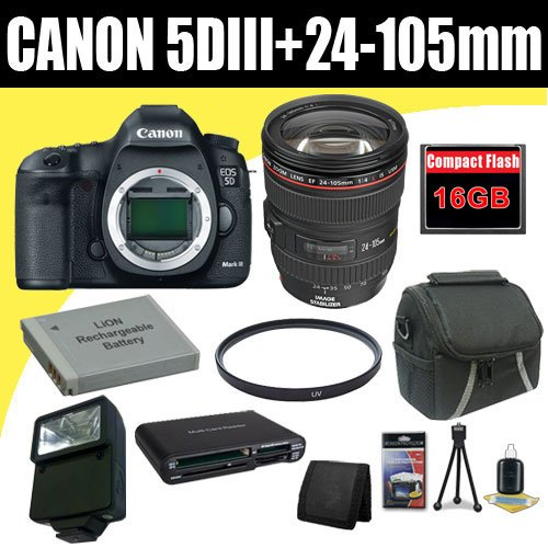 Canon EOS 5D Mark III 22.3 MP Full Frame CMOS with 1080p Full-HD Video Mode Digital SLR Camera w/ EF 24-105mm f/4 L IS USM Lens + LP-E6 Replacement Lithium Ion Battery + 16GB Compact Flash Memory Card + 72mm UV Filter + Carrying Case + External Flash + SDHC Card USB Reader + Memory Card Wallet + Deluxe Starter Kit Deluxe Accessory Kit
