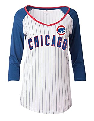 Chicago Cubs Women's Pintstriped 3/4 Sleeve Jersey Style T-shirt