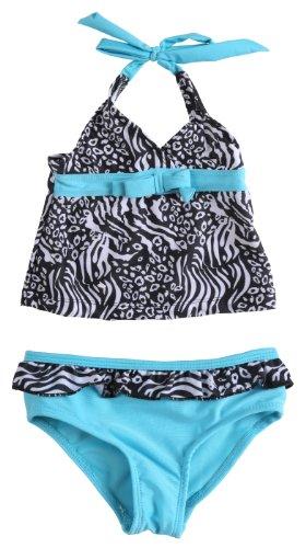 Pink Platinum Little Girls Uv Protection Two Piece Tankini Set Swimwear- White (Size 2T)