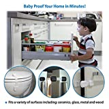 Child-Safety-Locks-Adjustable-Straps-Latches-to-Baby-Proof-Cabinets-Drawers-Fridge-Toilet-Seat-Easy-Install-No-Screws-or-Drills-Reusable-with-Extra-Adhesive-Pads-6-Pack-White-Black-Ultimate-Child-Proo