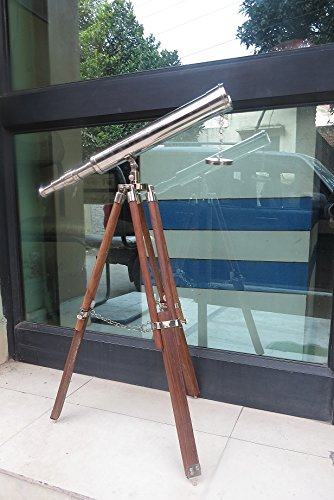 "Galileo Telescope -Nautical Decor Floor Standing 18"" Brass Astro Telescope"