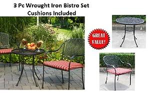 Outdoor Wrought Iron 3 Pc Bistro Set W / FREE Striped Cushions