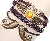 Angel Wings Retro Trinkets Masquerade Beard Braided Bracelet Native American Indian Style Jewelry