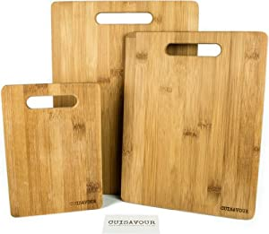 Cuisavour's 3 Piece Bamboo Cutting Board Set - 100% Natural & Eco Friendly Wood - Deluxe All In One Pack - Small, Medium & Large Chopping Boards Knife Set - Kitchen Accessories - Antimicrobial, Organic & Biodegradable - Perfect for Meat, Cheese, Fruits &