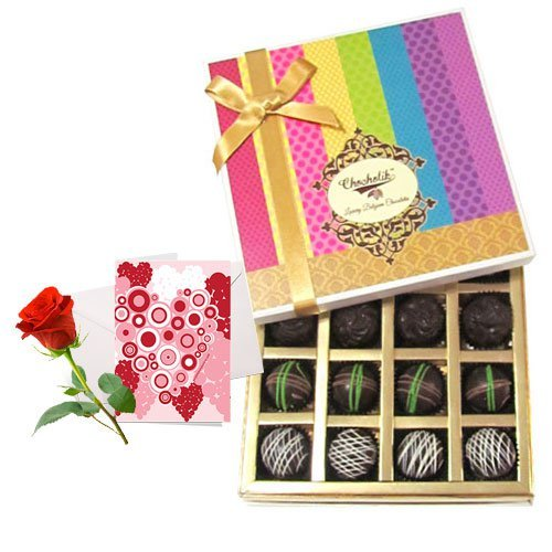 Sweet Dark Truffle Collection With Love Card And Rose - Chocholik Belgium Chocolates