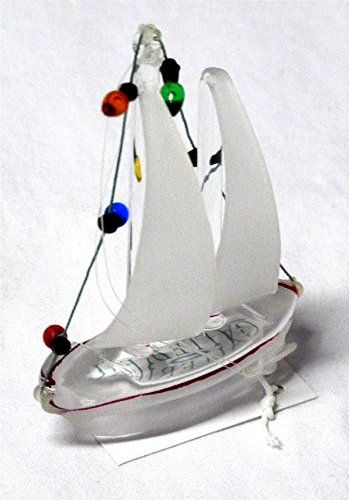 "Nautical Glass Sailboat Christmas Ornament With Holiday Lights - Red And White Hull With White Sail - 3.5"" X 2.675"" - Comes Packaged With A Credit Card Sized Tropical Magnet Featuring A Starfish, Anchor Sailboat And Palm Tree - Gift Idea"