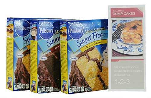 Pillsbury Sugar-free 3-Piece Cake Mix Bundle – with BONUS Sugar-free Dump Cake Technique and Recipe Brochure