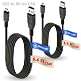 T-Power 2 x pcs ( 6.6 ft Long Cable ) Micro-USB to USB Cable for Amazon Kindle Fire, Kindle HD, Fire Hd 7