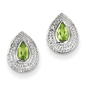 IceCarats Designer Jewelry Sterling Silver Rhodium Peridot Diamond Post Earrings