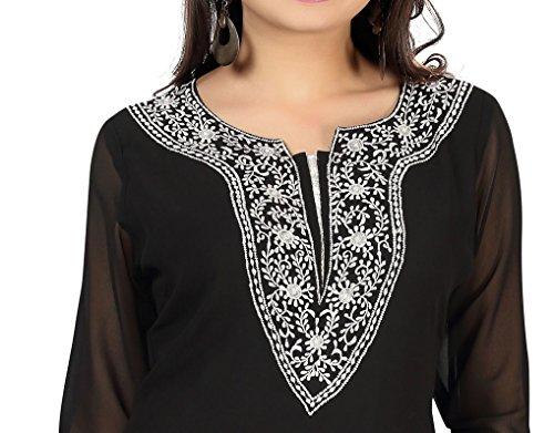 Indian Tunics Kurti Top Long Printed Blouse Womens India Apparel (Black, XXL)