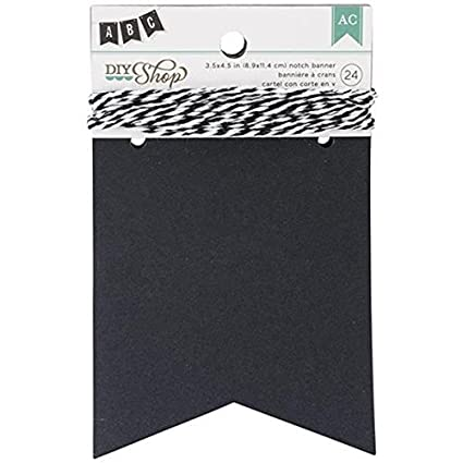 American Crafts 24-Piece Notch DIY Shop Chalkboard Banner, 3.5 by 4.5-Inch