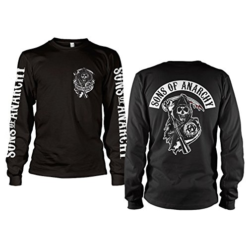 Officially Licensed Merchandise SOA Backpatch Long Sleeve T-Shirt (Black), Large
