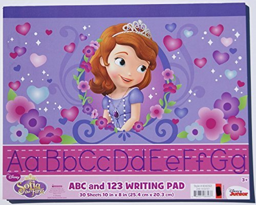 "Sofia the First ABC and 123 Writing Pad - 30 Sheets - 10"" x 8"" - 1"