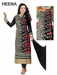 Zeel Fashion Women's Georgette Unstitched Dress Material (zf03_Black _Free Size)