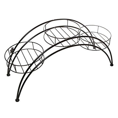 Ornamental Metal Round Top Garden Planter Arch: Elegant Arch Design Black Metal Plant Stand / Flower Pots