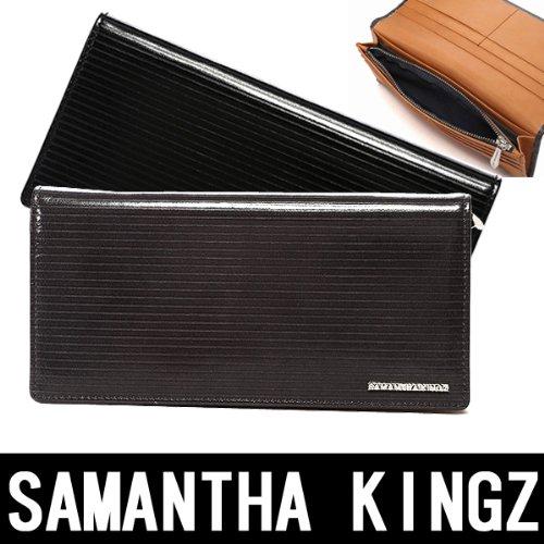 Samantha Kingz サマンサキングズ サマンサキングズ 牛革 ボーダー柄 長財布 ロゴプレート カードホルダー (ブラック)