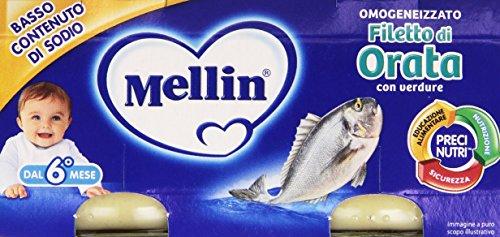 Mellin - Omogeneizzato, Filetto di Orata -80g (Confezione da 2)