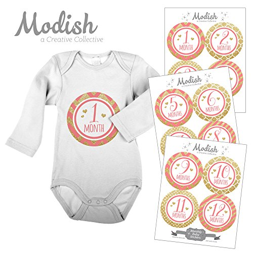 12 Monthly Baby Stickers, Gold Glitter {Faux}, Pink, Baby Girl, Baby Belly Stickers, Monthly Onesie Stickers, First Year Stickers Months 1-12, Coral, Pink, Gold Glitter, Stripes, Chevron, Polka Dots, Quatrafoil, Glamour, Fashion - 1
