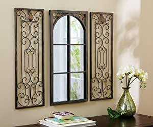 3 Pc Scroll Metal Window Arch Mirror Glass