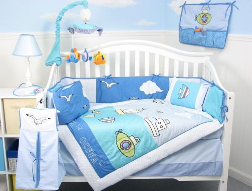 Sea Quest Baby Infant Crib Nursery Bedding Set, 10 Piece