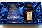 Engraved/Personalised Glass & Disaronno Amaretto Miniature In Silk Gift Box For 18th/21st/30th/40th/50th/60th Birthday/Wedding/Mum/Dad