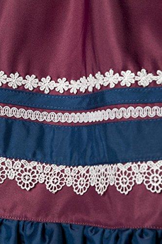 Luxus Designer Dirndl mit Schürze Kleid Dirndkleid Oktoberfest Tracht Trachtenkleid Spitze Brokat Paspelierung Rüschen Borte Blau Dunkelrot XS - 3XL thumbnail