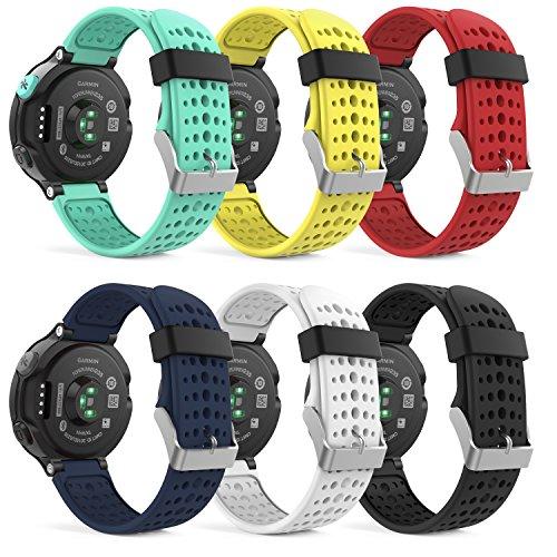 MoKo [6 pezzi] Garmin Forerunner 235 Accessori, Morbido Cinturino di ricambio in Silicone per Garmin Forerunner 220/230/235/620/630/735 Smart Watch, Multicolori