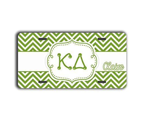 Kappa Delta sorority personalized license plate - Green and white chevron (Unusual License Plate Frames compare prices)