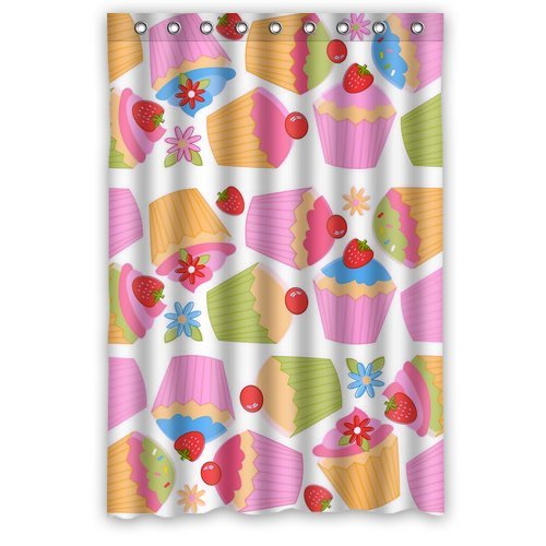 "Colorful Strawberry And Cherry Cup Cake Waterproof Polyester Shower Curtain Size 48""X 72"" front-588217"