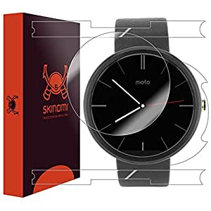 Skinomi® TechSkin - Motorola Moto 360 Screen Protector + Full Body Skin Protector with Lifetime Replacement / Front & Back Premium HD Clear Film / Ultra Invisible and Anti-Bubble Crystal Shield